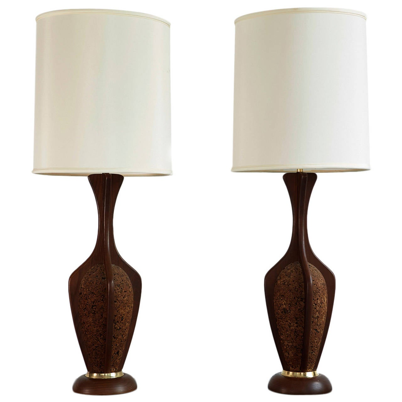 this mid century danish modern cork and teak lamps with original satin. Black Bedroom Furniture Sets. Home Design Ideas