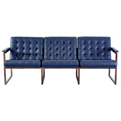 Milo Baughman Leather Sofa Newly Upholstered