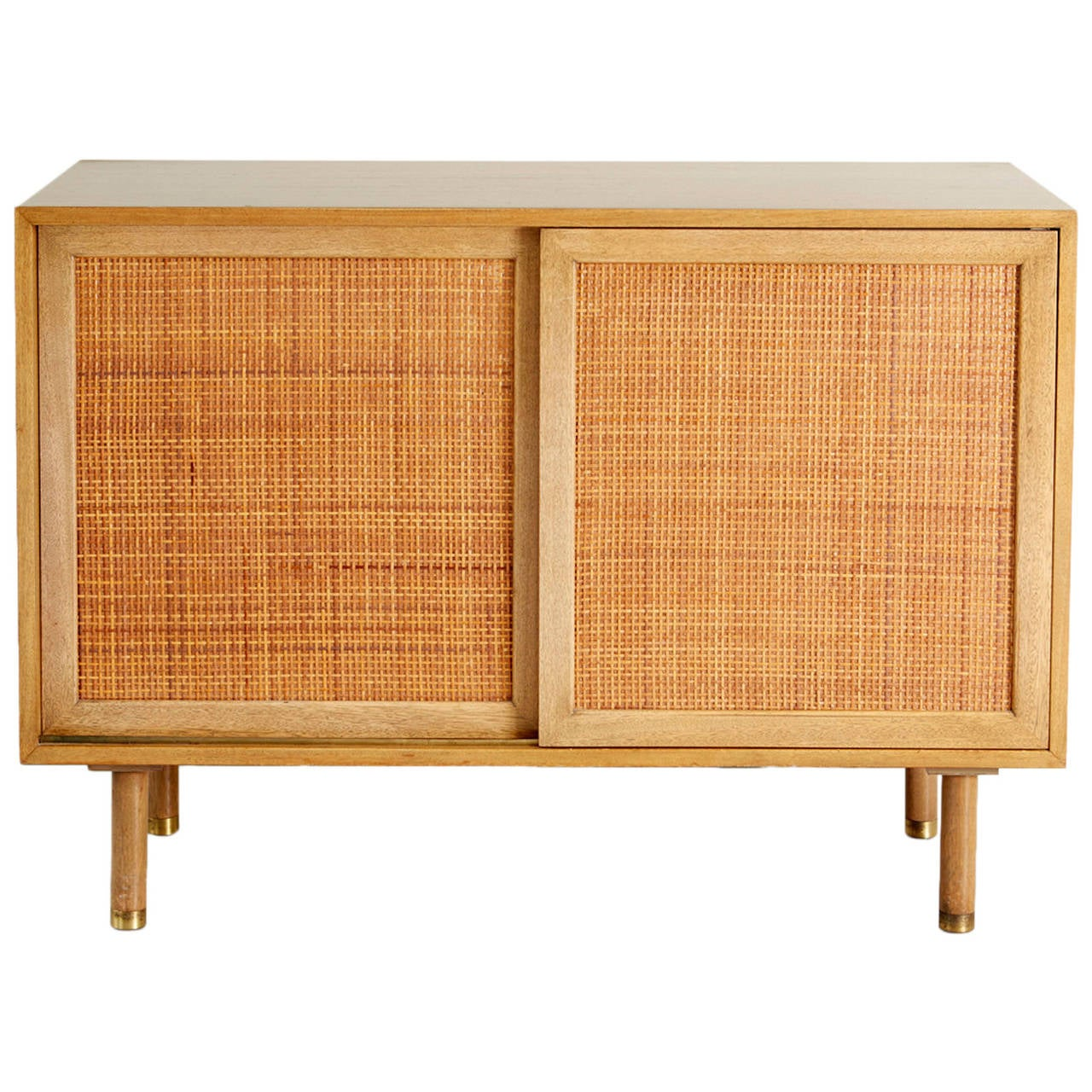 Harvey Probber Walnut And Rattan Credenza At 1stdibs