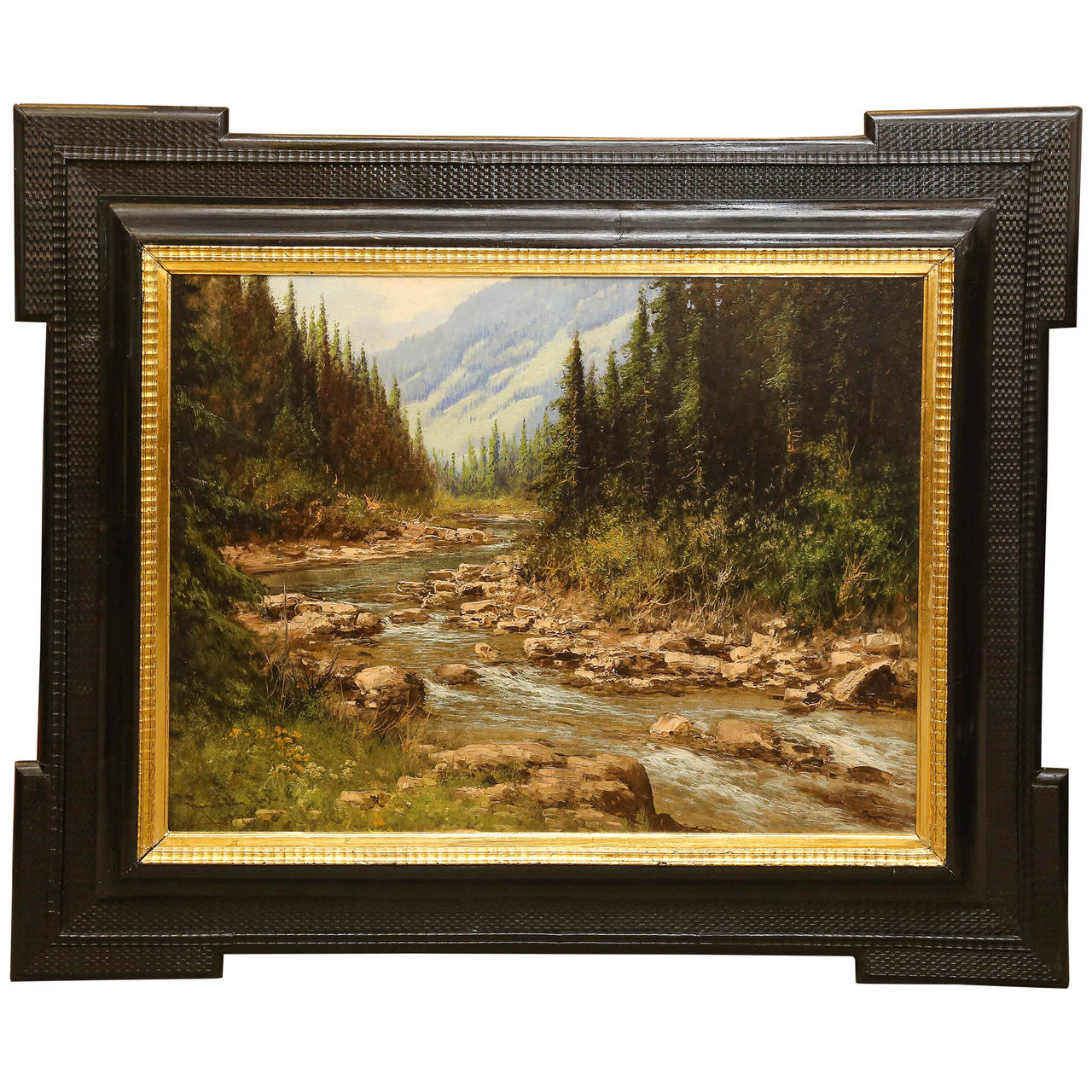 "Laszlo Neogrady Painting, ""Endless Mountain Landscape with a Creek"""
