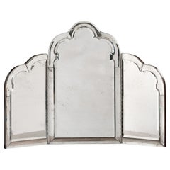Tabletop Vanity Mirror with a Five-Way Beveled Border and Center