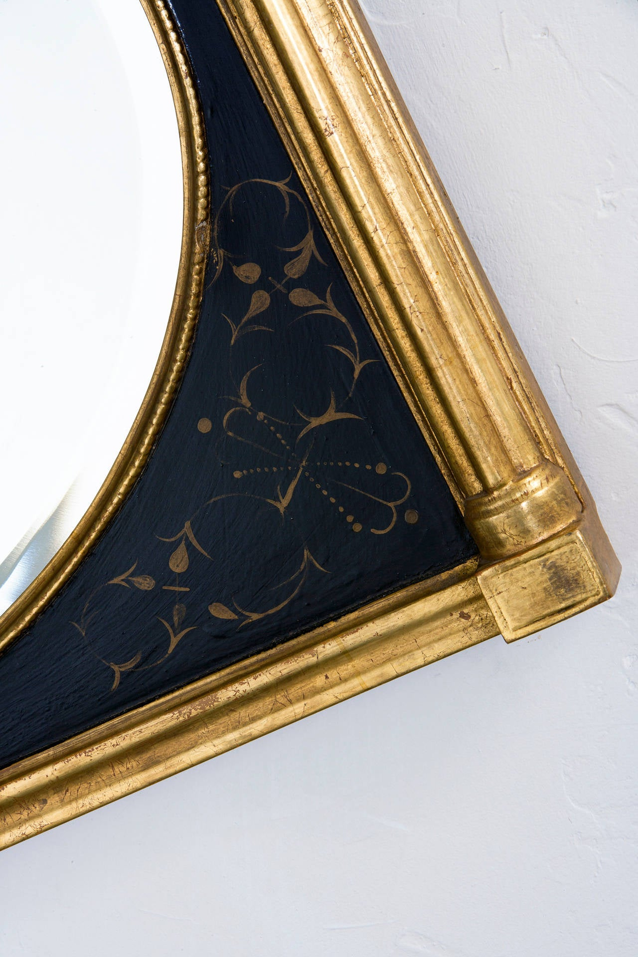 American Classical Black and Gold Mirror with Bevel Over Man's Chest For Sale