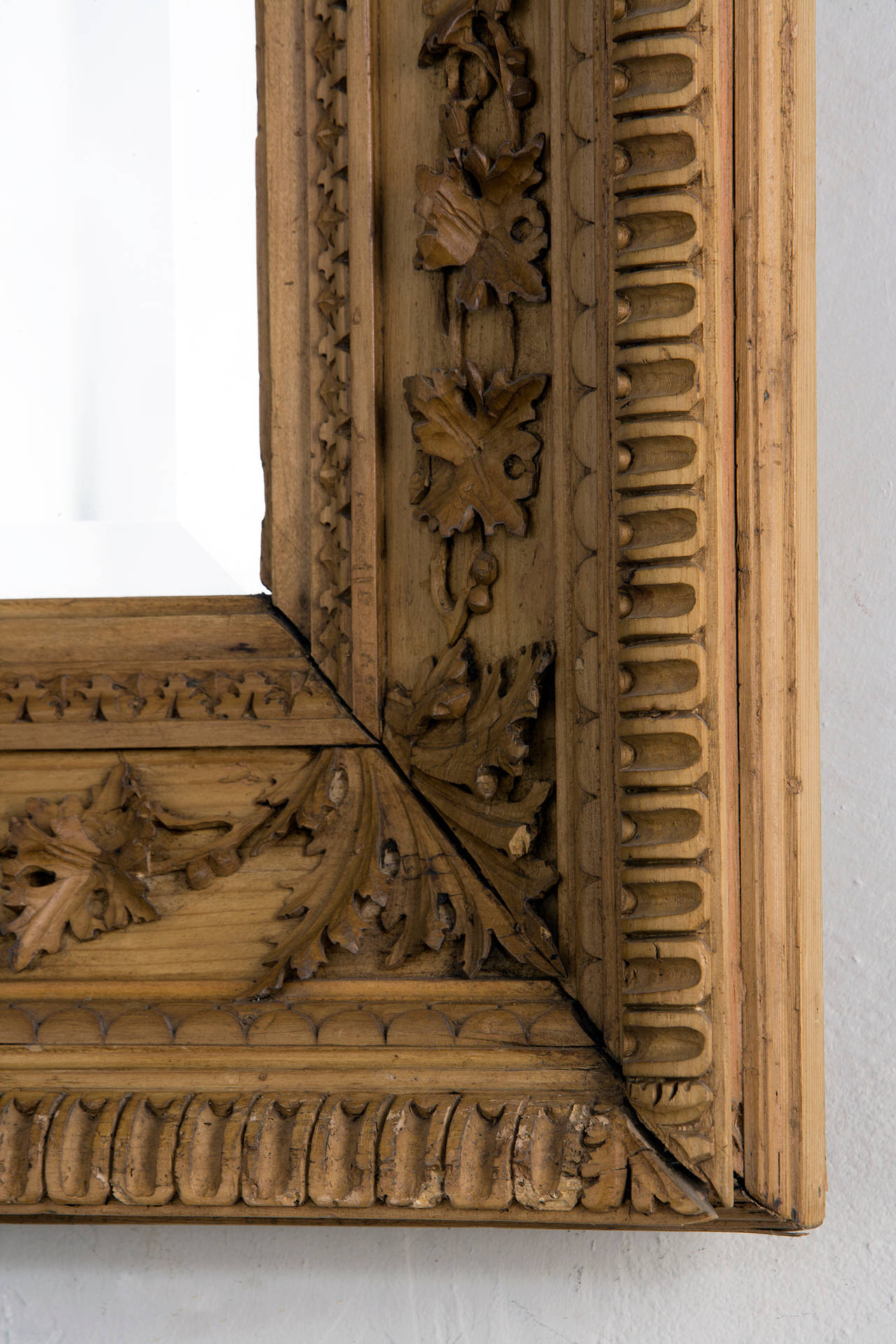 American Carved Pine Frame with Beveled Mirror For Sale