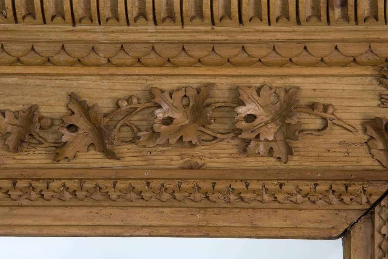 Carved Pine Frame with Beveled Mirror In Fair Condition For Sale In New York, NY