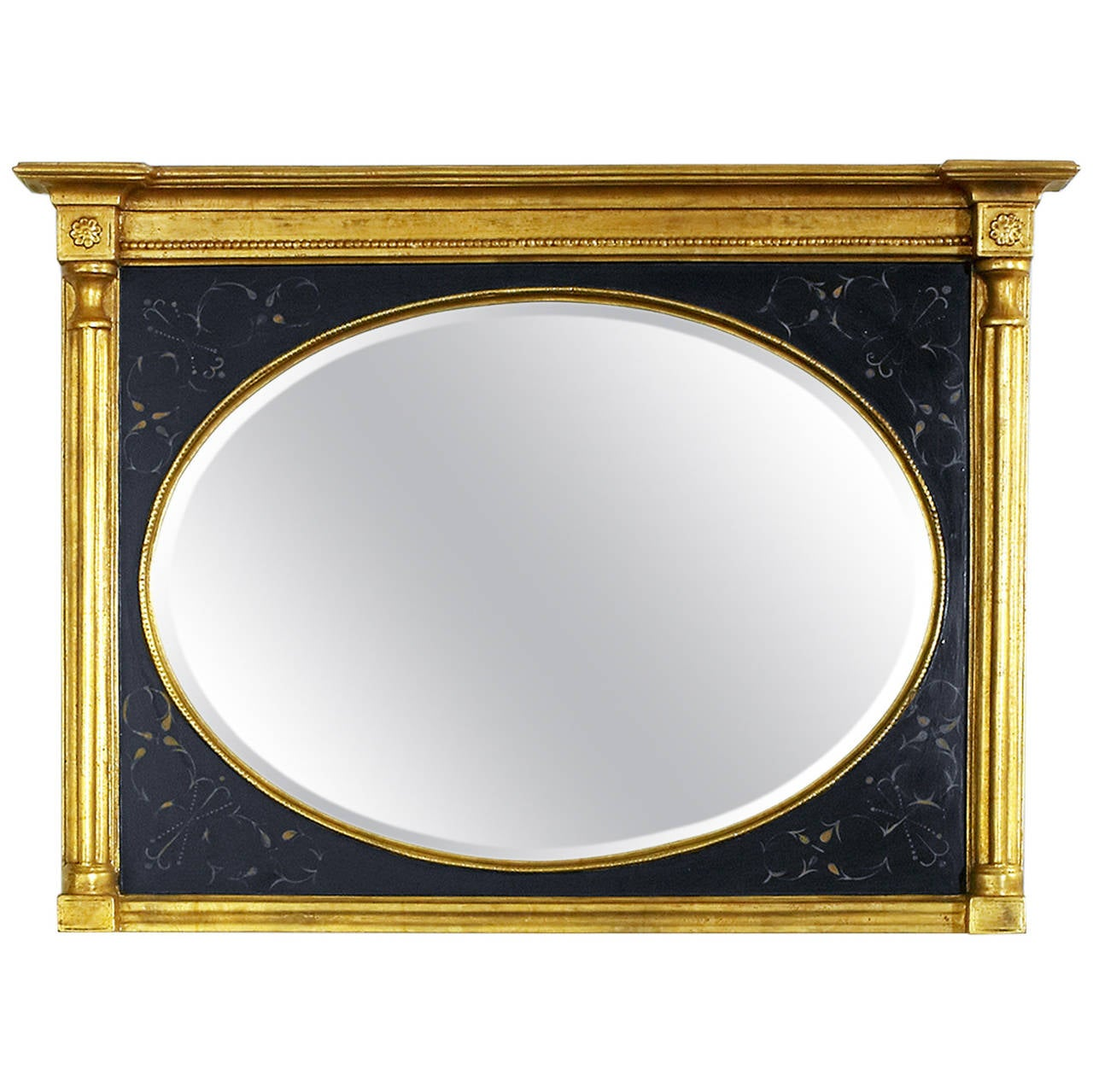 Black and Gold Mirror with Bevel Over Man's Chest For Sale