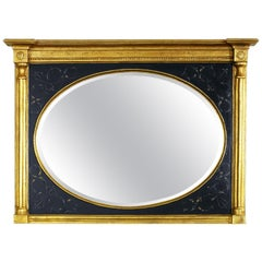 Black and Gold Mirror with Bevel Over Man's Chest