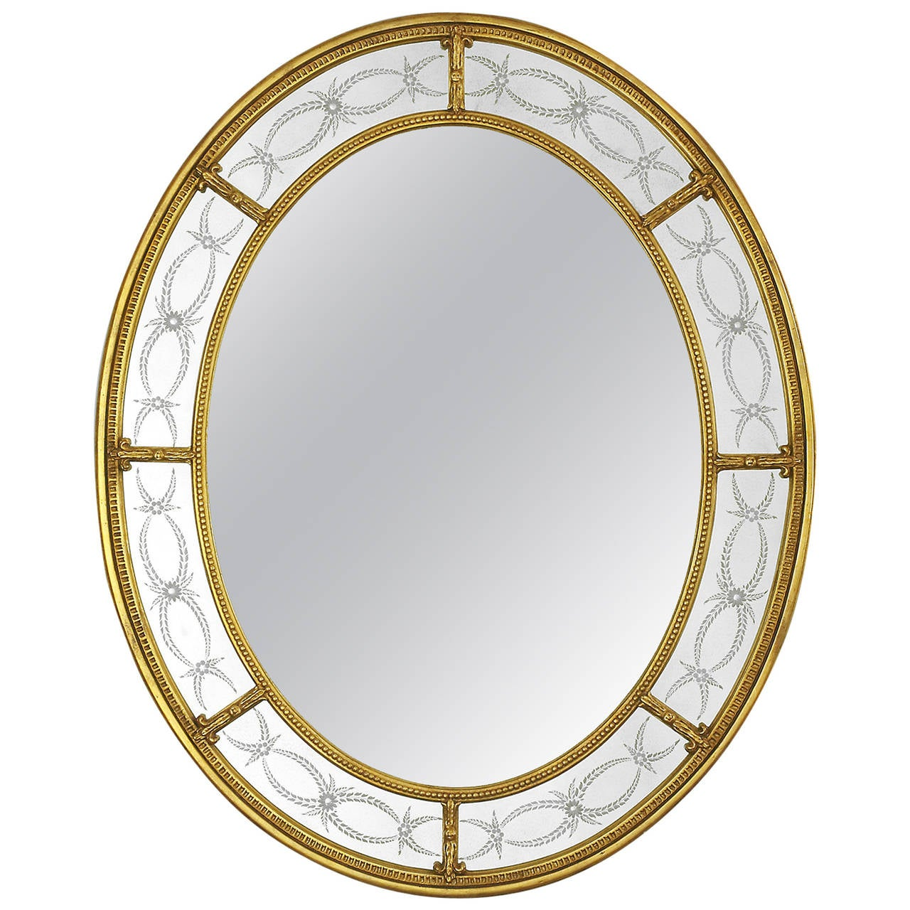 Adam style oval mirror 22 karat gold with engraved panels for Adam style mirror