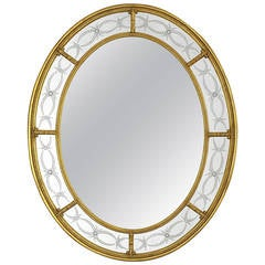 Adam Style Oval Mirror, 22-Karat Gold with Engraved Panels
