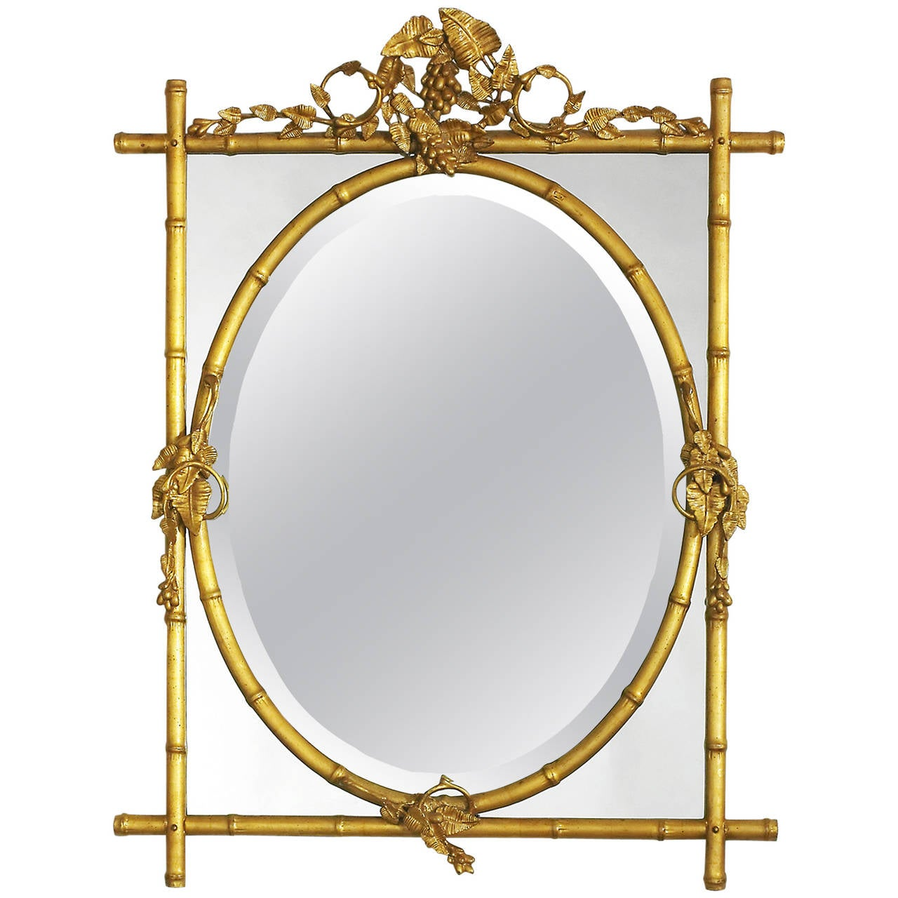 Gilt Bamboo with Oval Center Mirror 1