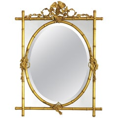 Gilt Bamboo with Oval Center Mirror