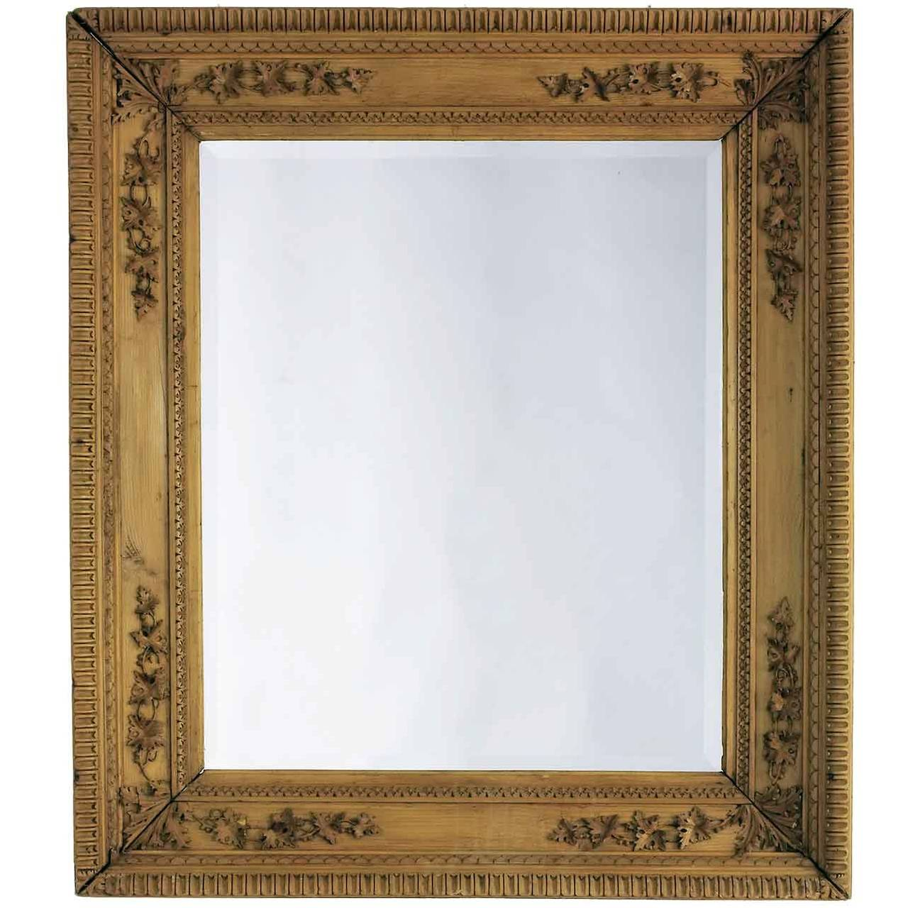 Carved Pine Frame with Beveled Mirror For Sale