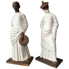 Pair of Italian Glazed Terracotta, Classic Tanagra Style Female Figurines