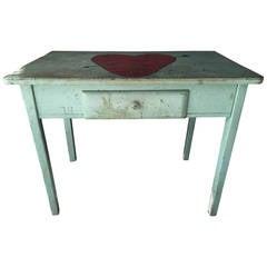 "Folk Art Style ""Lonely Hearts Valentine"" One-Drawer Desk"