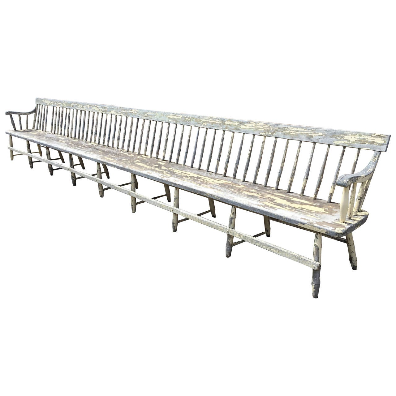 Monumental Deacons Train Station Spindle Back Bench At 1stdibs