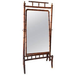 Mid-19th Century Regency Faux Bamboo Cheval Floor Mirror
