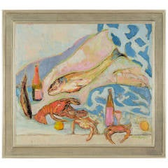"""""""Untitled"""" Still Life with Fish and Crustacea by Humbert Howard"""