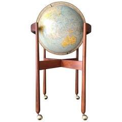 Jens Risom Vintage Illuminated World Globe on Stand