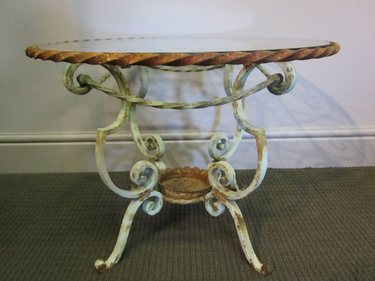19th century french cast iron table with glass top for for Cast iron table with glass top