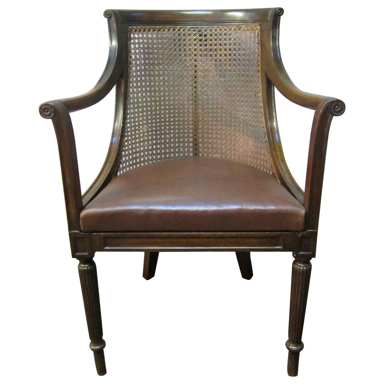 Early Victorian Cane Back Library Chair at 1stdibs