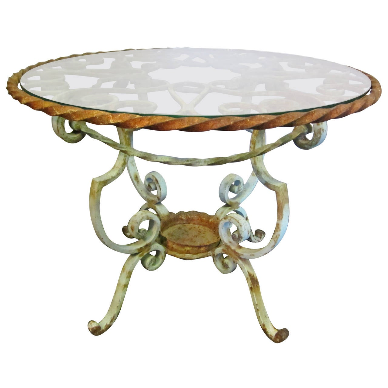 19th century french cast iron table with glass top at 1stdibs for Cast iron table with glass top