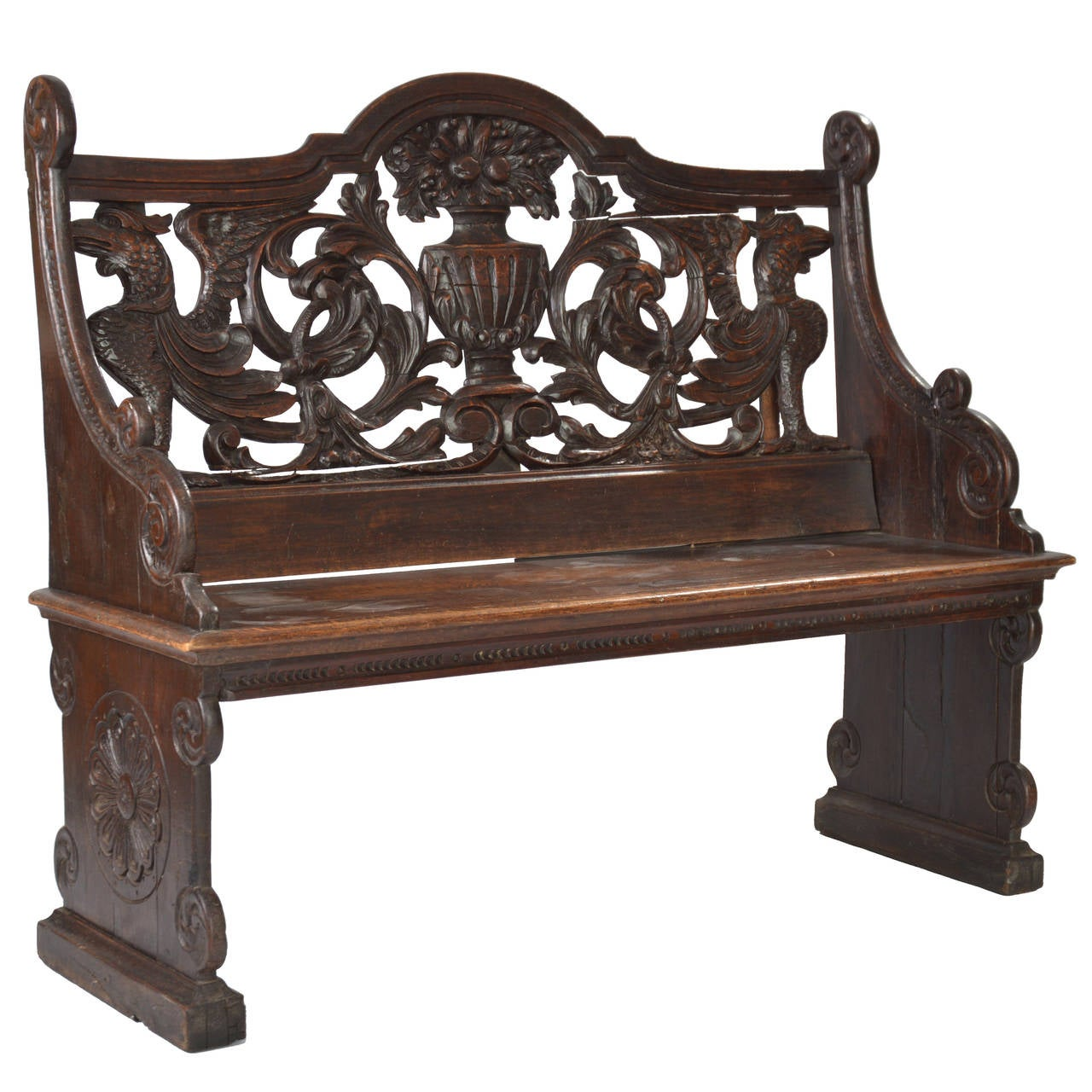 Rare 19th Century Carved Italian Wooden Bench At 1stdibs