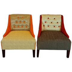 Pair of Mid-Century Hollywood Regency Lounge Chairs