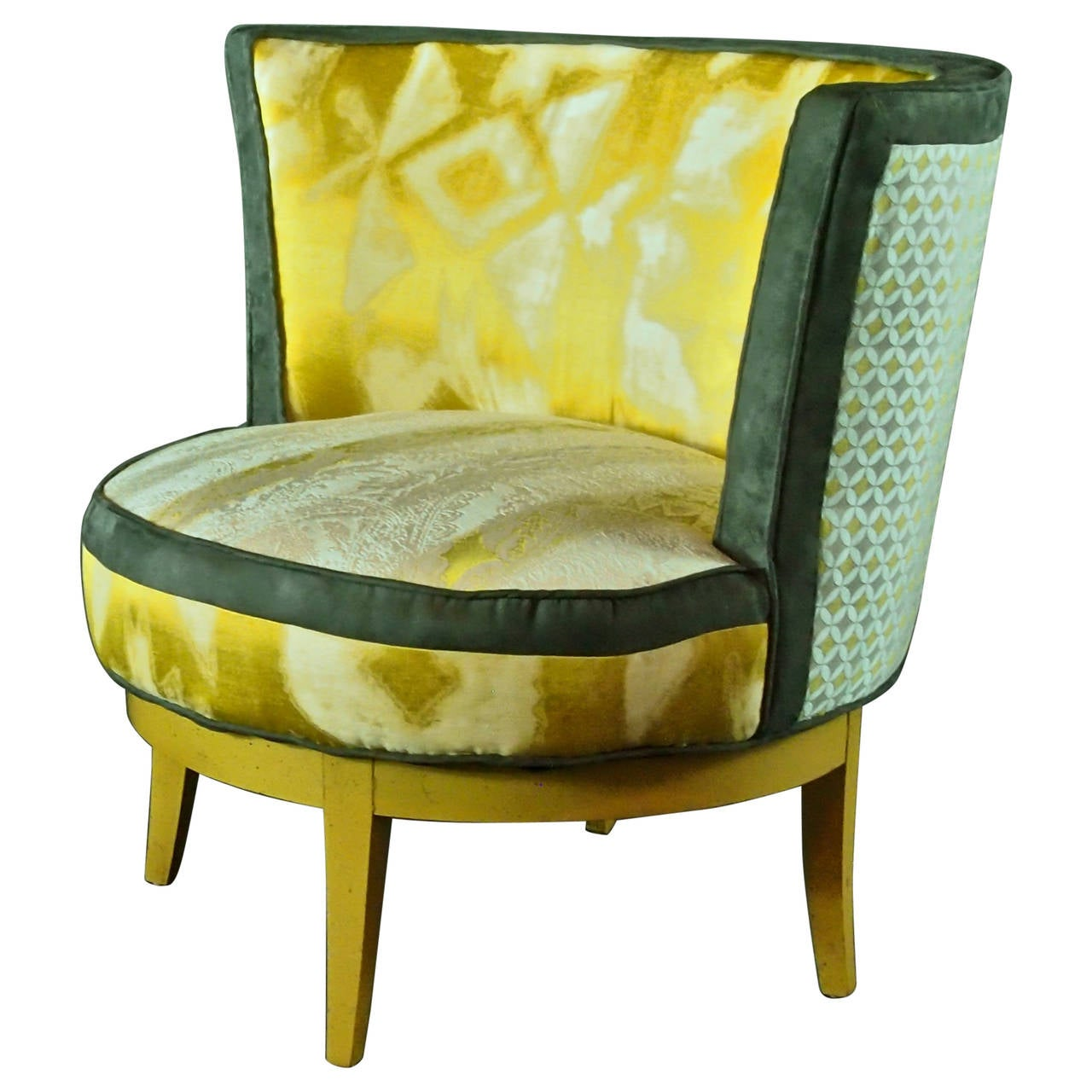 Mid Century Barrel Chair With Swivel Base In Yellow, Gray  In Stock