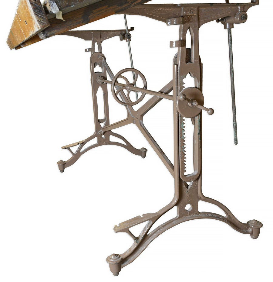 Antique American Drafting Table with Adjustable Iron Base  : 45445draftingtablebasedetail 1 from www.1stdibs.com size 900 x 928 jpeg 88kB