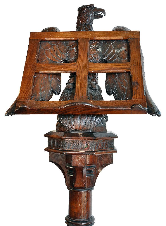 Huge old hand carved wood federal eagle folk art wooden eagle wall - Hand Carved Oak Eagle Lectern 3