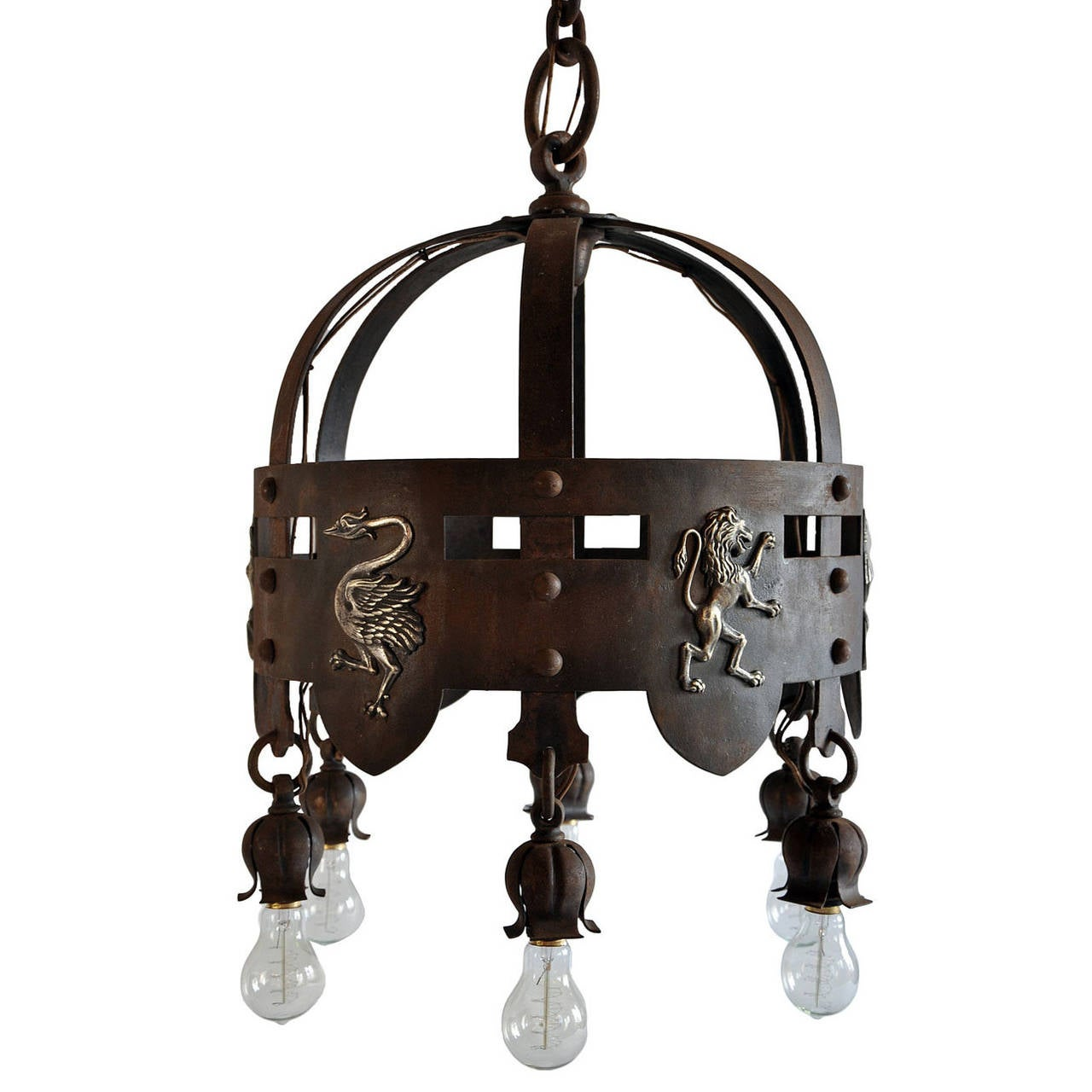 Iron Arts and Crafts Chandelier with Brass Emblems For