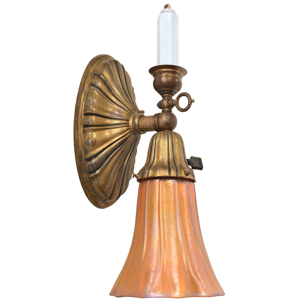 Colonial Electric Wall Sconces : Colonial Revival Sheffield Gas or Electric Sconce with Art Glass Shade at 1stdibs