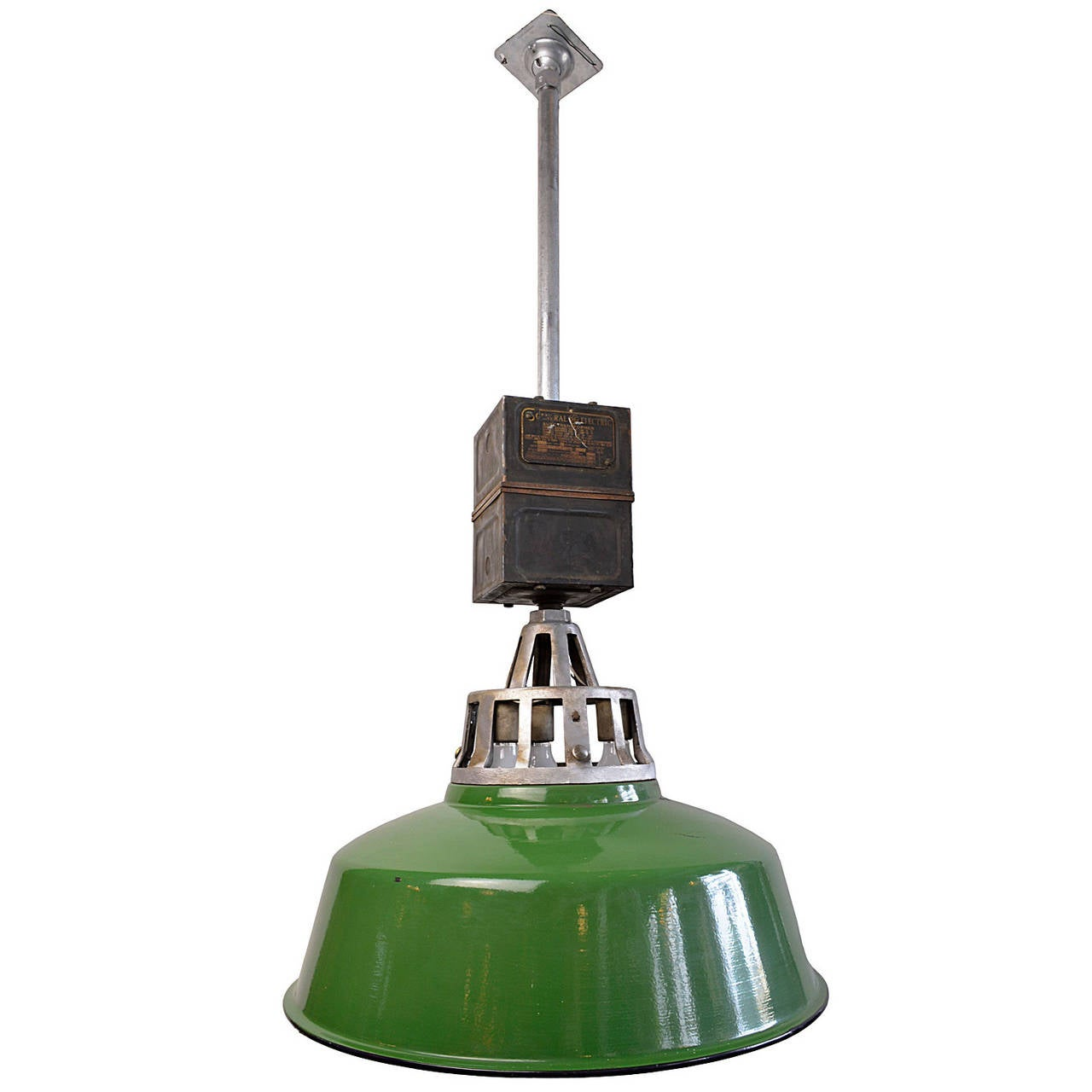 Green Enamel Warehouse Fixture With Original Transformer