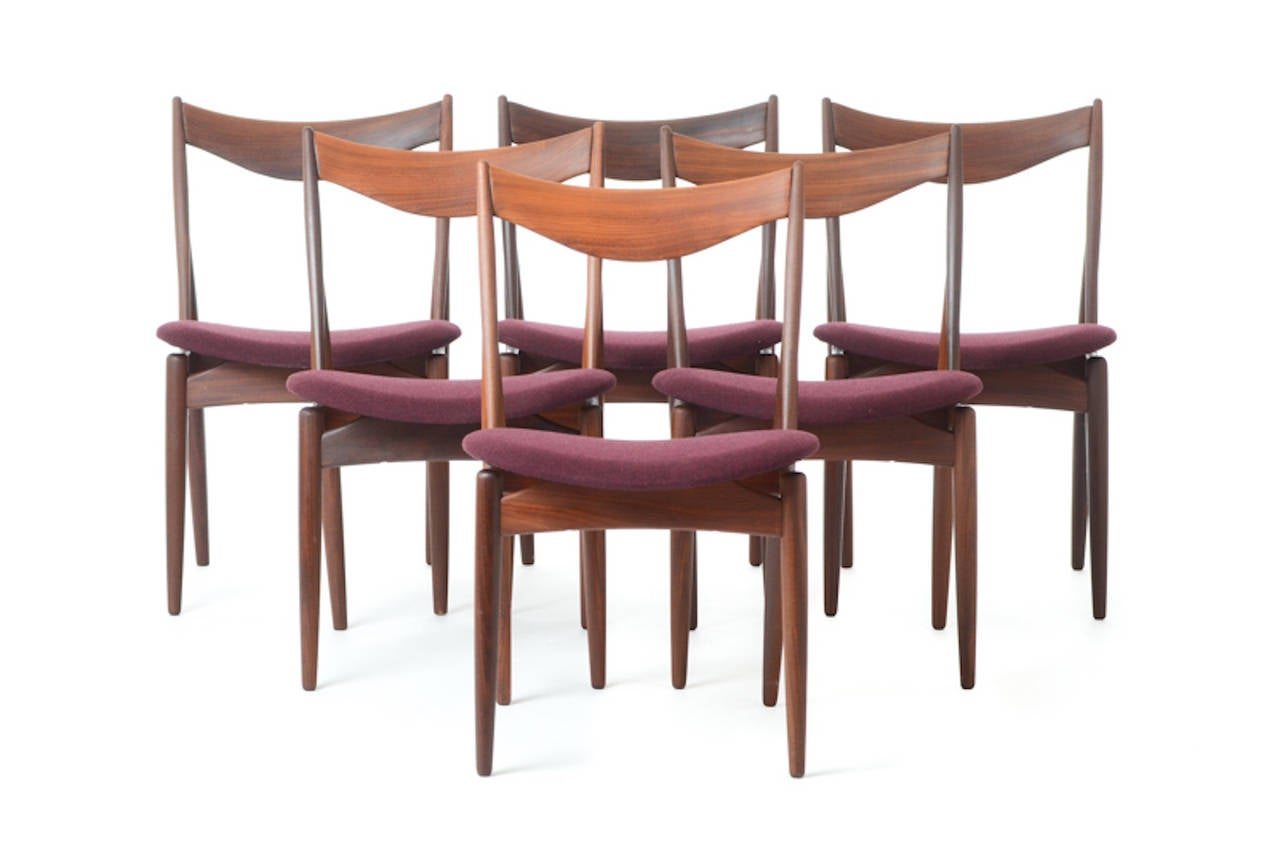 Mid Century Danish Modern Teak Dining Chairs In Scandinavian Wool Set Of 6 A