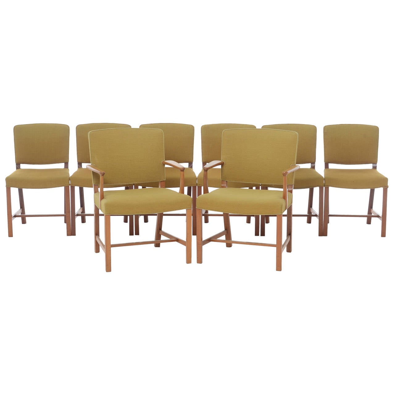 Mid century danish modern mahogany dining chairs set of 8 for Dining room furniture modern