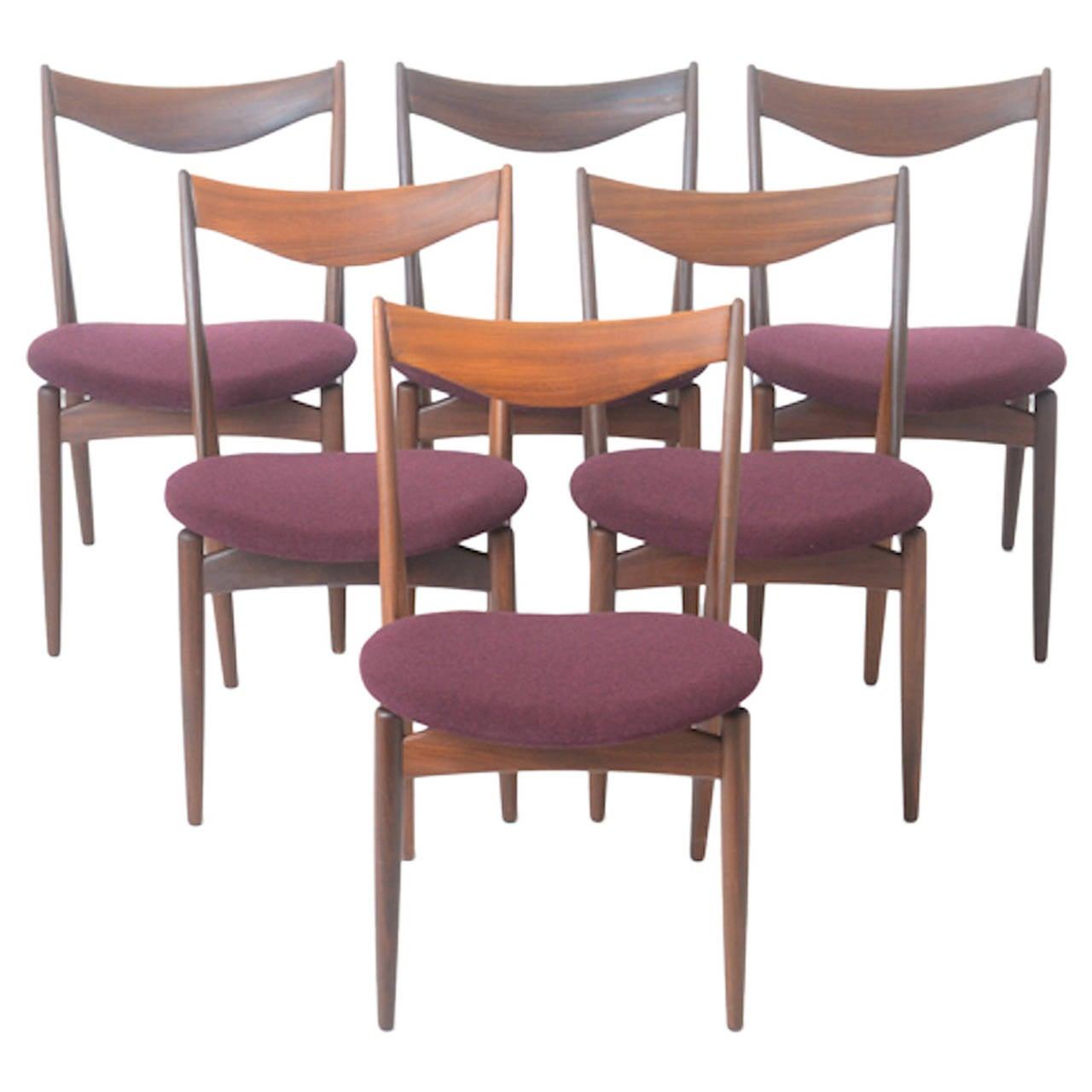 Mid century danish modern teak dining chairs in scandinavian wool set of 6 at 1stdibs - Scandinavian teak dining room furniture ...