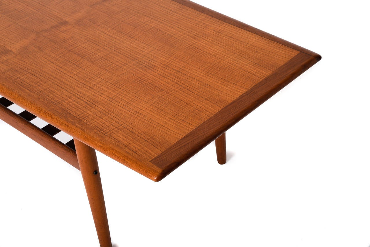 Mid Century Danish Modern Teak Coffee Table With Slatted Shelf By Grete Jalk At 1stdibs