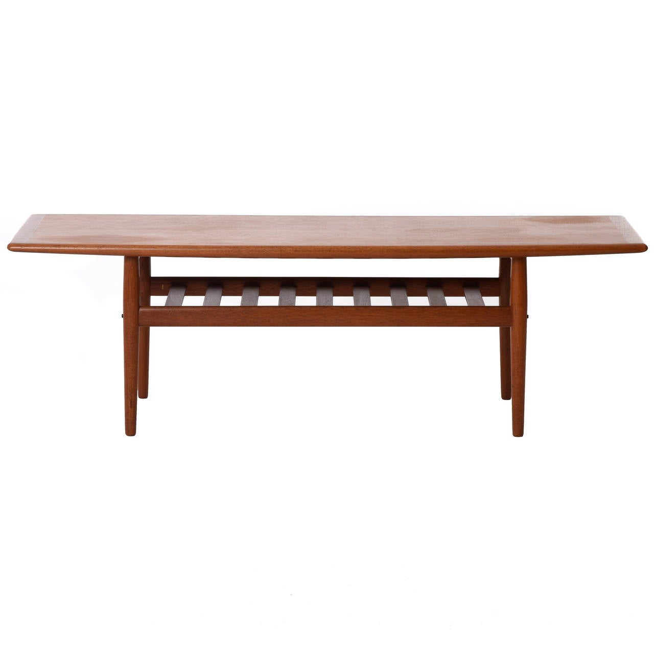 Mid-Century Danish Modern Teak Coffee Table With Slatted