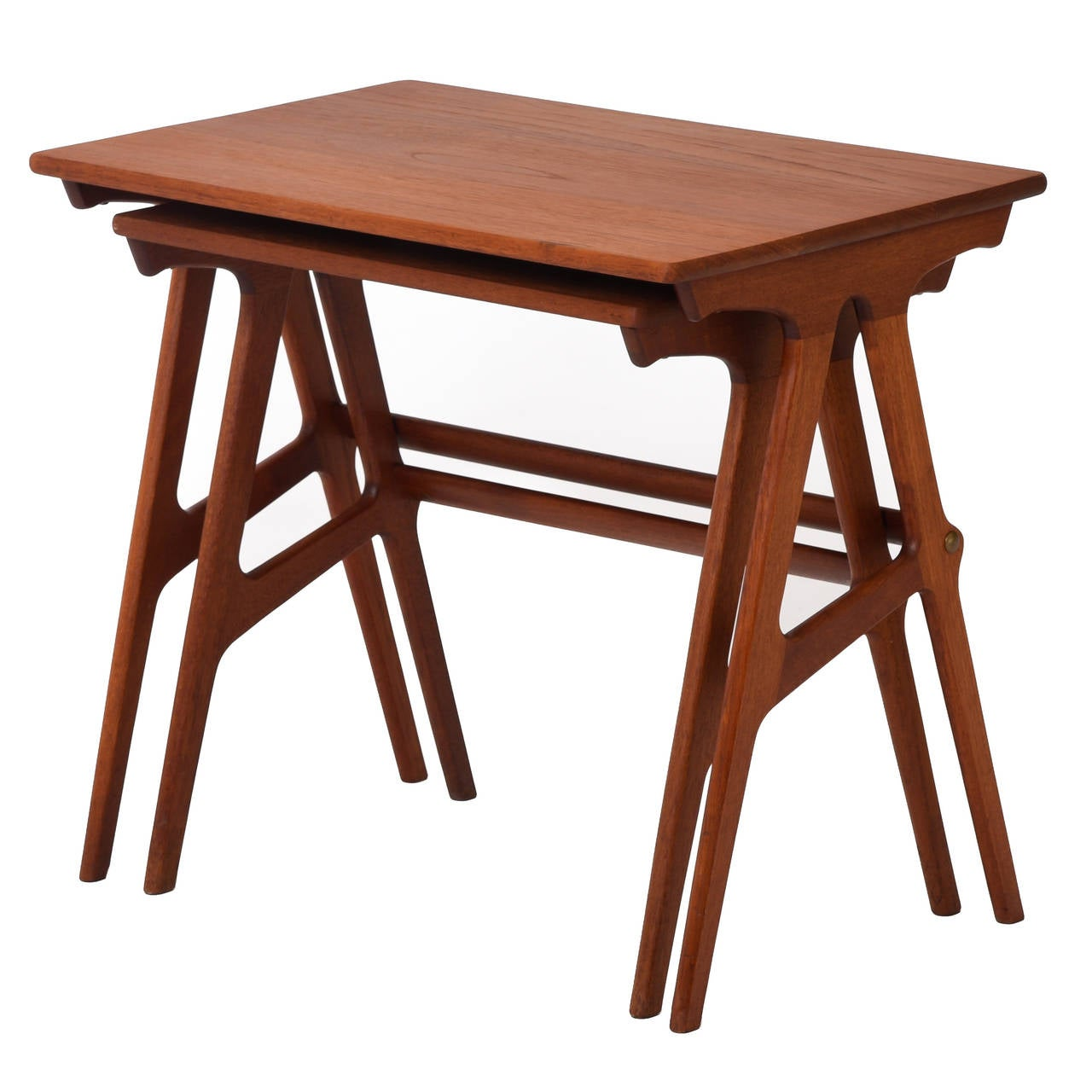 Teak Nesting Tables ~ Danish modern teak nesting tables set of two at stdibs