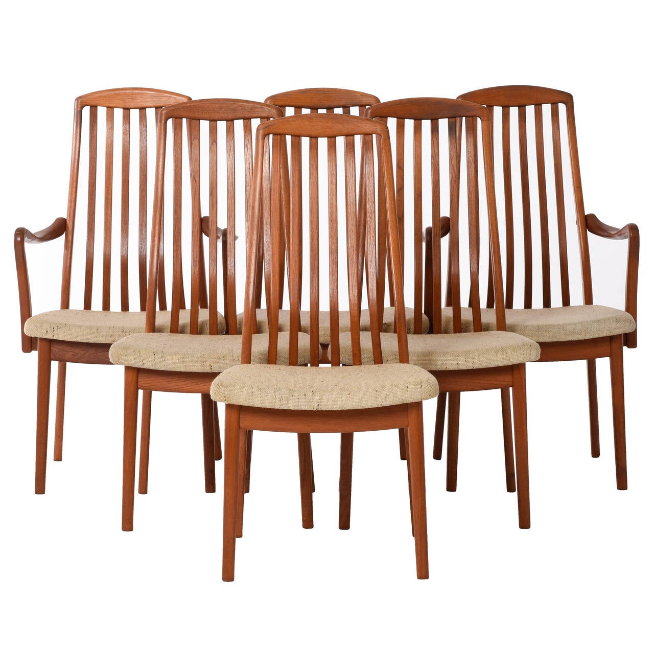 Danish Modern Slat-Back Dining Chairs, Set Of Six At 1stdibs