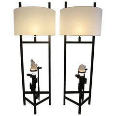 Pair of Painted Metal and Rock Crystal Floor Lamps of the 21st Century
