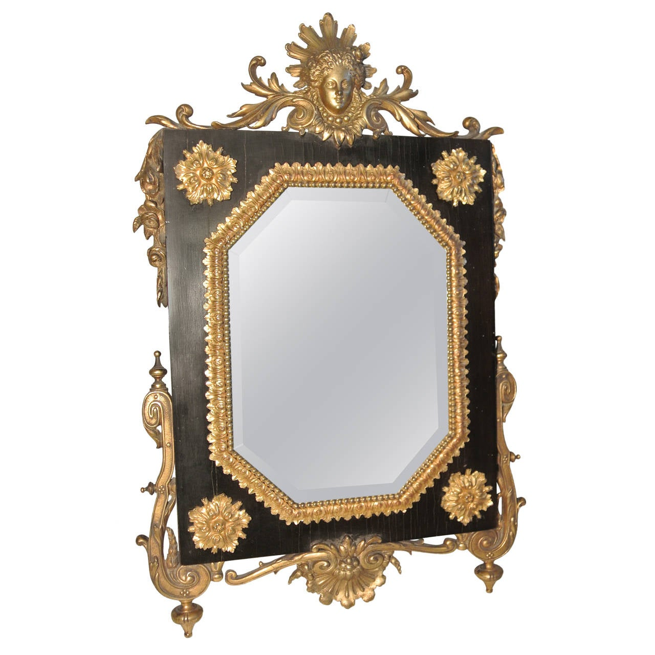Table mirror ormolu on ebony beveled mirror and gilded for Beveled mirror