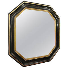 Octagonal Mirror from 19th Century, Lacquer Black and Gold