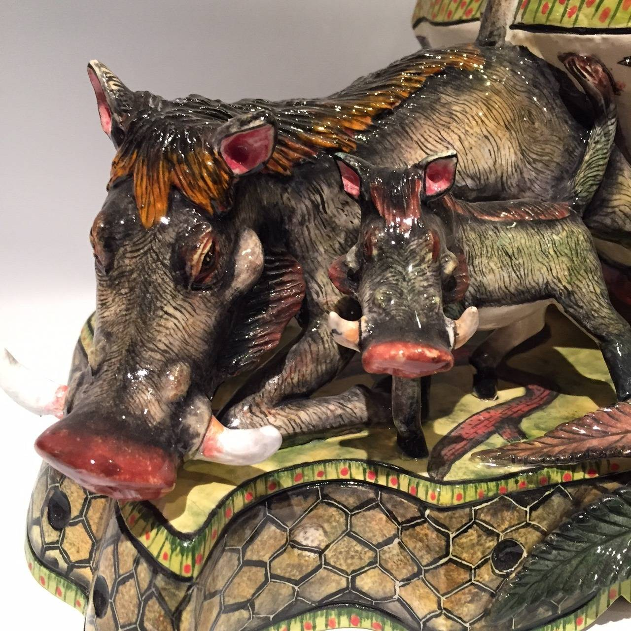 Contemporary Warthog Tureen Centrepiece Ceramic Sculpture from Ardmore, South Africa For Sale