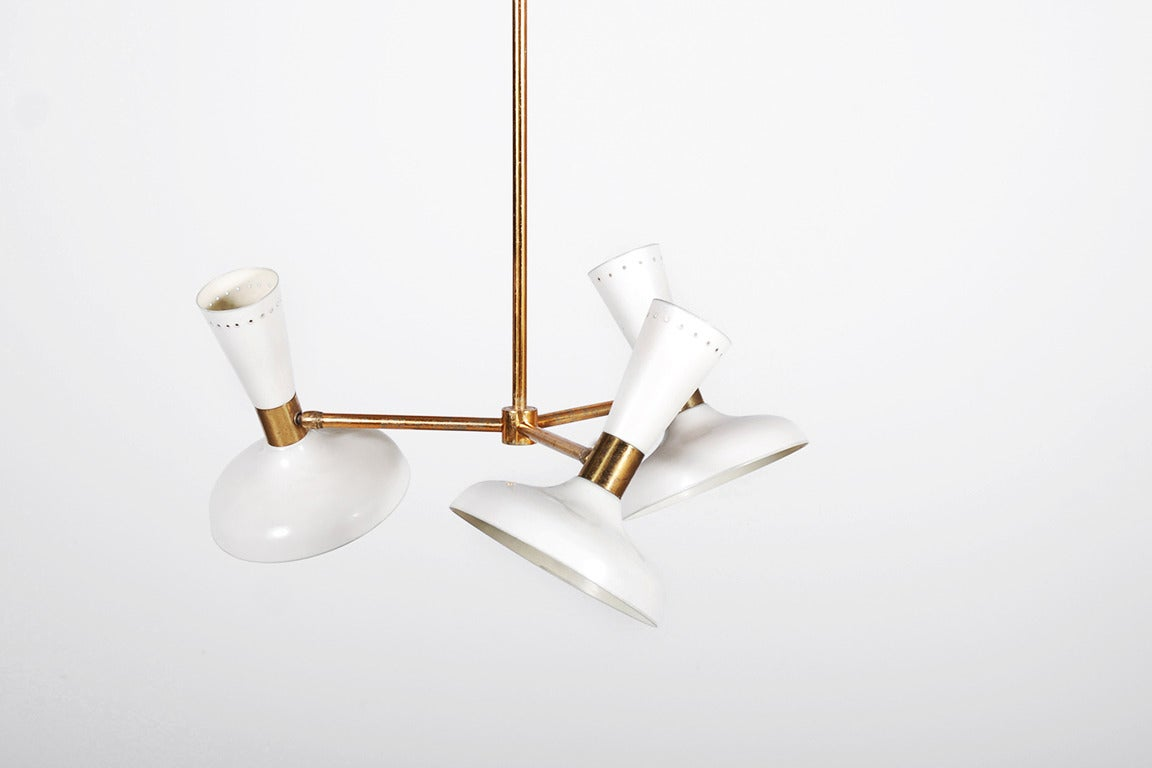 Stilnovo Ceiling Lamp with White Lacquered Shades and Brass, 1950.  H : 90 cm Global Diameter : 62 cm H of one shade : 24 cm Diameter of one shade : 19 cm  Parcel shipping regarding this item :  - To the USA : USD 200 including packing and