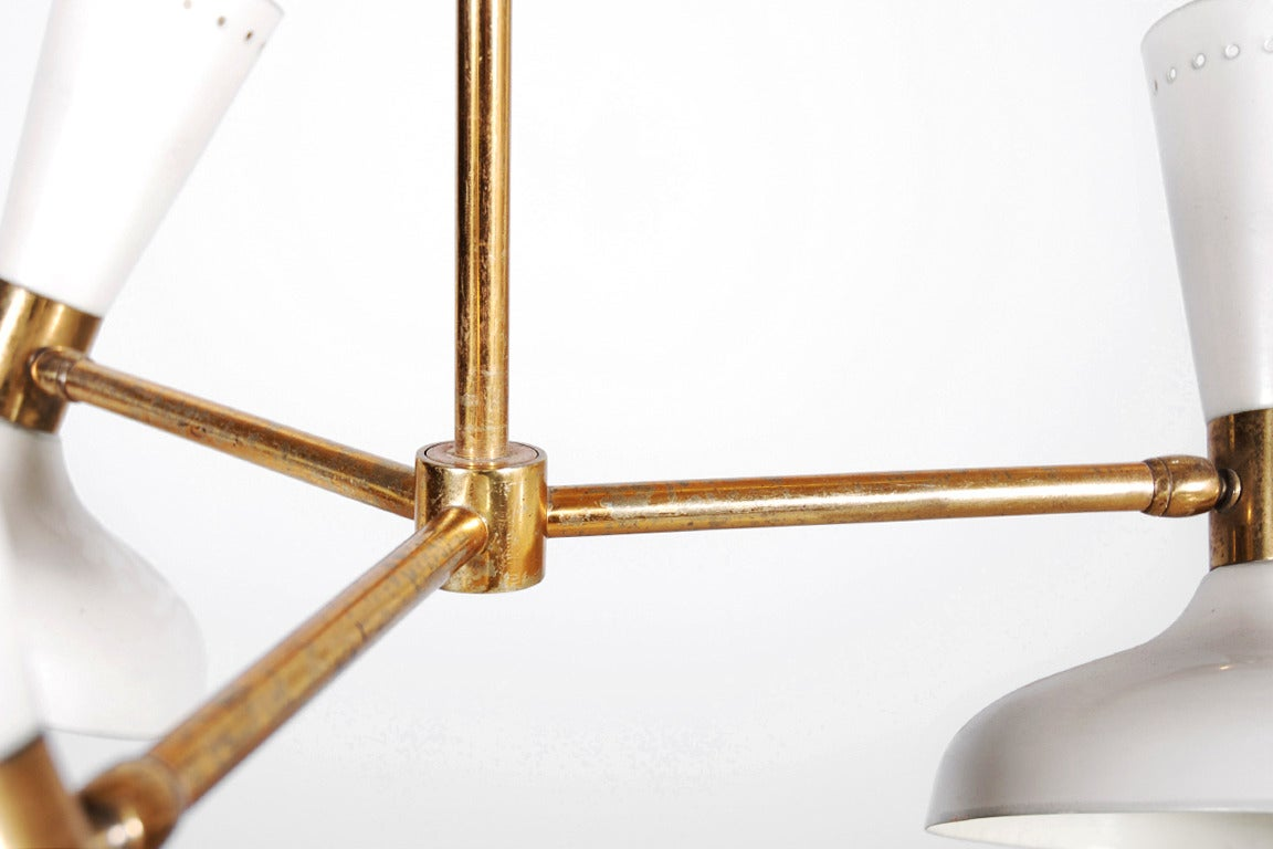 Brass Stilnovo Ceiling Lamp with Three White Lacquered Shades, 1950 For Sale