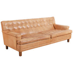 Arne Norell Three-Seater Sofa in Natural Cognac Leather 1960