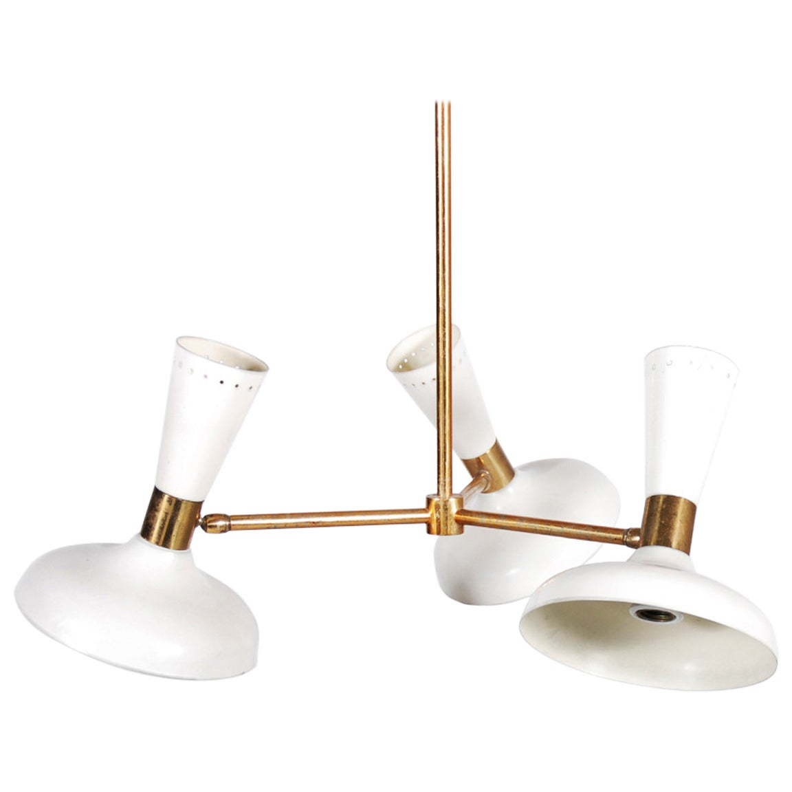 Stilnovo Ceiling Lamp with Three White Lacquered Shades, 1950 For Sale