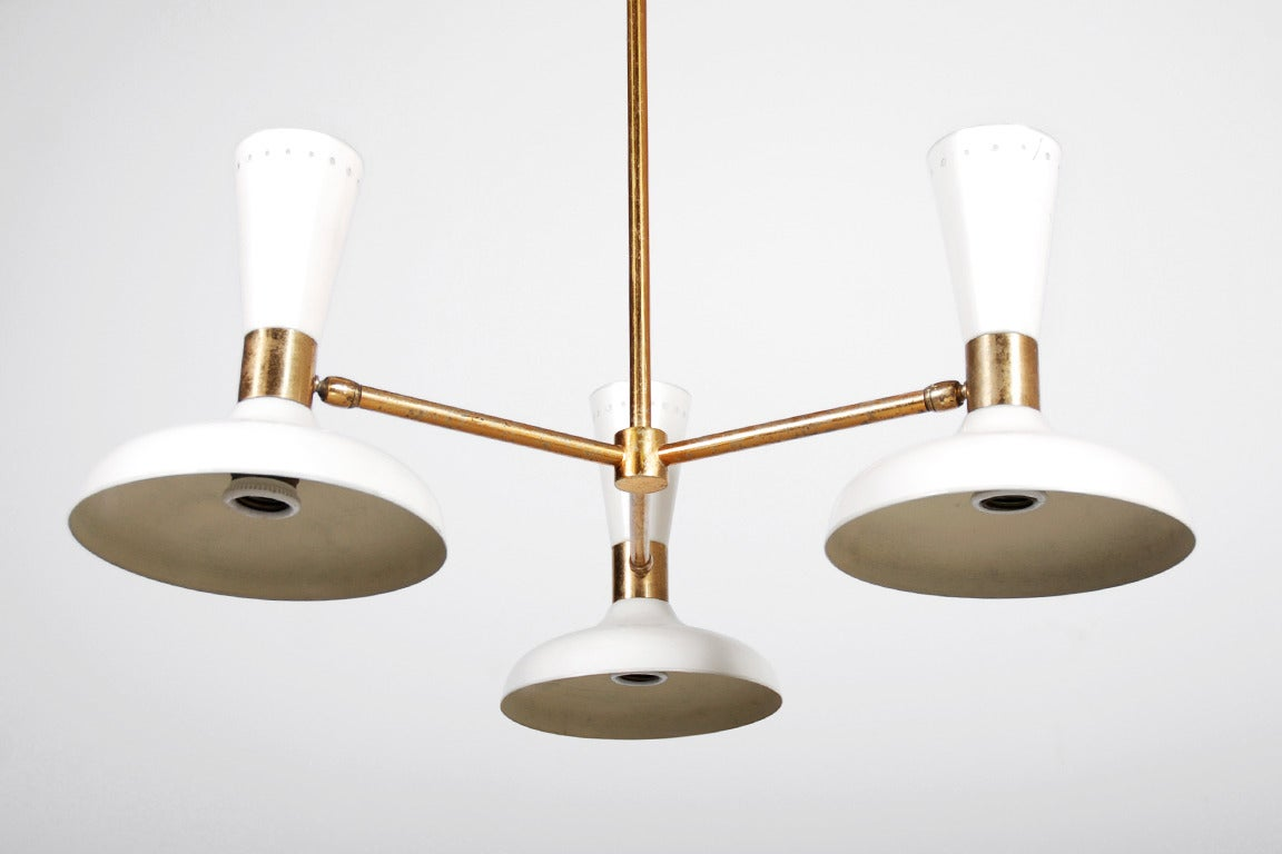 Stilnovo Ceiling Lamp with Three White Lacquered Shades, 1950 For Sale 1
