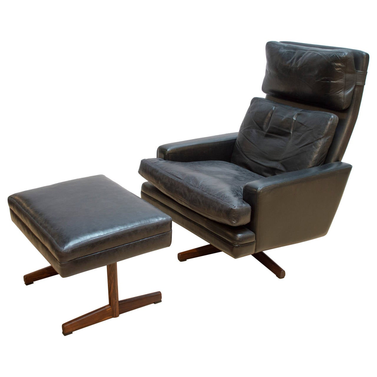 Frederik Kayser Leather Lounge Chair with Ottoman at 1stdibs