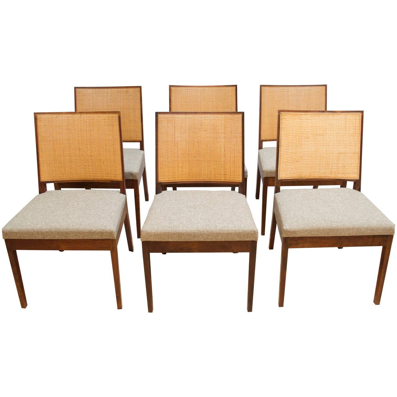 Set Of Six Walnut And Cane Dining Chairs By John Kapel For Glenn Of  California 1